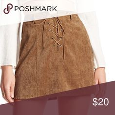 Lace-up tan skirt Corduroy lace up skirt. Size S. Never worn. Tan color. On Twelfth Skirts Mini