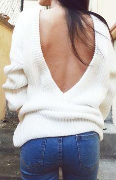 #fall #fashion / white open-back knit
