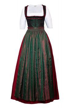 Dirndl lang, rot-grün, Seide http://www.oktoberfesthaus.com