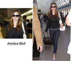 Acabo não falando muito da Jessica Biel, mas hoje vi esta foto dela no aeroporto e gostei da produção, básica e bacana. Os óculos então, amei!!!