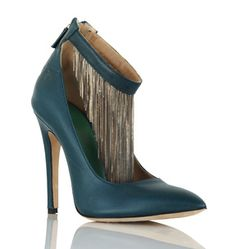 Bring a rocker edge to your evening look. Delicate chain fringe is beautifully draped from the ankle strap of this teal evening pump.