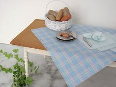 Pastel Plaid Cottage Table Cloth & Napkin Set by MiddleStreetMinis