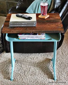 vintage school desk end side table