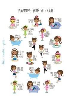 Planning for Self Care Stickers. Dark Skin and Hair Girl. 19 Planner Stickers for Erin Condren, Happ Skin Care Routine 30s, Self Care Routine, Simplified Planner, Self Care Bullet Journal, Body Check, Glow Up Tips, Glo Up, Self Care Activities, Self Improvement Tips