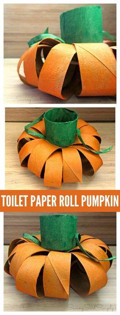 Toilet Paper Roll Pumpkin Halloween Kids Craft | easy fall craft for little hands via @raisingwhasians