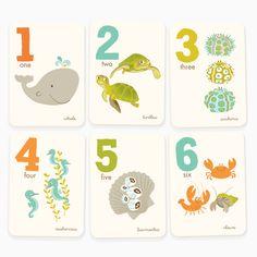 Ocean numbers print set  | Sea Urchin Studio #seaurchinstudio