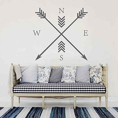 BATTOO Arrow Compass Wall Decal - Arrow Wall Art - Would look so cool on my new mint green studio wall {aff link}