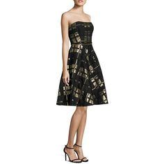 Badgley Mischka Plaid Strapless Fit-&-Flare Dress (960 AUD) ❤ liked on Polyvore featuring dresses, apparel & accessories, strapless plaid dress, tartan plaid dress, badgley mischka, strapless fit and flare dress and fit and flare dress