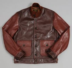 1920S CIVILIAN A-1 MOTO JACKET, TWO-TONE HORSEHIDE LEATHER :: HICKOREE'S $1950
