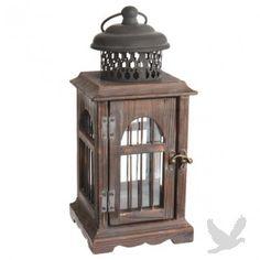 Aged Wood Votive Holder Lantern