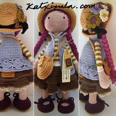 www.katxirula.com Berta A. Vergara Santos Crochet Doll Pattern, Easy Crochet Patterns, Crochet Patterns Amigurumi, Amigurumi Doll, Doll Patterns, Doll Clothes Patterns, Crochet Doll Clothes, Knitted Dolls, Crochet Dolls
