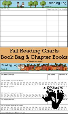Free Weekly Fall 2015 Reading Charts - chapter books and book bag with apples, leaves and pumpkin themes - 3Dinosaurs.com