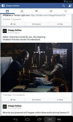 This is why i love Sleepy Hollow. Ichabod wears the same clothes everyday. Abby says to him, I have two words for you, dry cleaning. Ichabod:Pick two words I will understand. Great writing and it helps Tom Milson is british by birth!!!