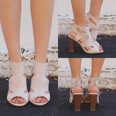 Sand Peep Toe Cutout Ankle Lace Up Back Heel Luciana-80