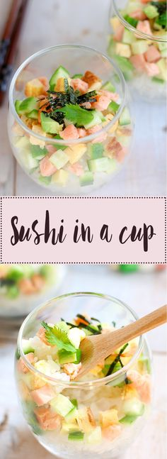 Super Simple Sushi In a Cup recipe is an extremely simple and quick alternative to regular rolled sushi. It's also very versatile and tastes delicious! Sushi Recipes, Seafood Recipes, Asian Recipes, Cooking Recipes, Healthy Recipes, Ethnic Recipes, Sushi Love, Simple Sushi, Sake Sushi