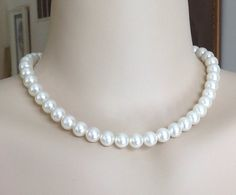 Classic Large White Faux Glass Pearl Necklace by Justelechose, $18.00