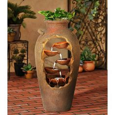Delightful Cascading Planter Ideas For Small Space Gardening , In fact, almost anything could develop into a planter if you decide to use a little imagination. The thought of employing an aged wooden box for a pla. Indoor Water Garden, Indoor Water Fountains, Small Fountains, Indoor Fountain, Water Gardens, Tabletop Water Fountain, Fountain Design, Fountain Ideas, Waterfall Fountain