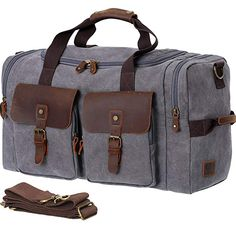6f254f82b7 WOWBOX Duffle Bag Weekender Bag for Men Genuine Leather Canvas Travel  Overnight Carry on Bag with