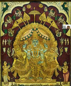 Mysore Painting, Tanjore Painting, Krishna Hindu, Ornament Drawing, Lord Vishnu, Old Paintings, Buddhist Art, Hinduism, Ganesha
