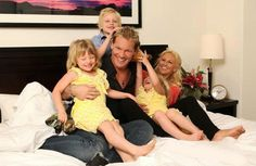 Chris Jericho, his wife Jessica, their son Ash, & twin daughters Sierra & Cheyenne