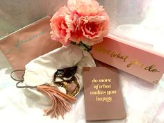 Rose Quartz, 2016 trendy wedding pantone color this season! Inspiring quotes on a bag, white-leather Vogue-featured purse accented with amethyst crystal, beautiful flower decor.