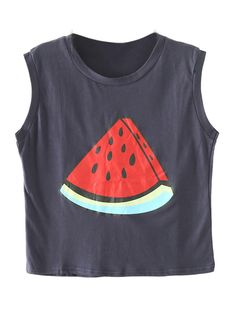 Dark Blue Watermelon Print Crop Top