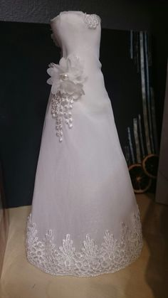 Bridal dress made with lace, pap marche and hotglue,  gift to my parents 45 years weddingday.