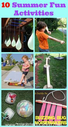 10 Summer Fun Activities including the ultimate water obstacle course, diy bow and arrow, dance painting, noise makers, and more!