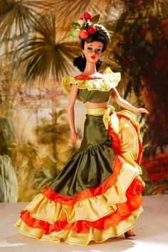 "Brunette ponytail Barbie wearing ""Tropical Treat"" fashion by Halina, from the collection of Barry Sturgill."