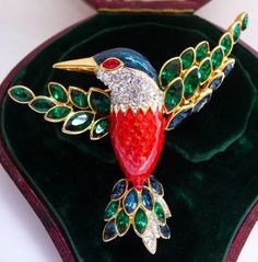 Nolan Miller Jacobin Hummingbird Brooch Pin | Glamour Collection 1990s |  Unused Original Vintage Jewelry |