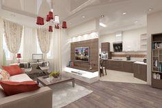 кухня столовая гостинная современный интерьер фото - Поиск в Google