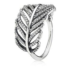 Pandora Ring - Sterling Silver & Cubic Zirconia Light as a Feather ($80) ❤ liked on Polyvore featuring jewelry, rings, sterling silver cz rings, sterling silver feather ring, pandora jewelry, sterling silver feather jewelry and sterling silver cz jewelry