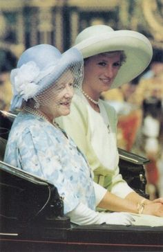 June 16, 1990 - Diana and the Queen mother riding in an open carriage for Trooping the Colour