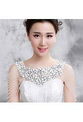 Sunshinesmile Wedding Bridal Crystal Pearls Lace Flowers Shoulder Body Chain Necklace Jewelry
