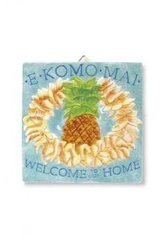 E Komo Mai (Welcome) Plumeria Ceramic Tile 8x8