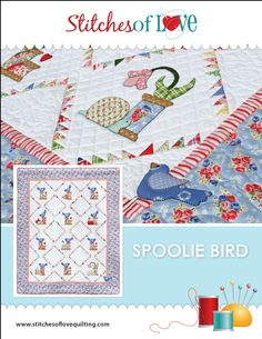Stitches of Love !  New Pattern Co.  Spoolie Bird Applique Quilt Pattern