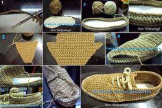 Crochet y dos agujas: Zapatos de hombre tejidos al crochet con paso a paso