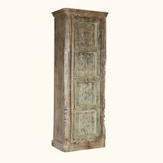 Honor tradition and classic style with authentic old wood furniture.  Our Winter White Gothic Armoire is built with a reclaimed wood door complete with rivets and hand carved details.  The cabinet is constructed with solid mango wood, a tropical hardwood grown as a renewable crop.  This eco-responsible combination of woods combines antique quality and modern hand crafted excellence.