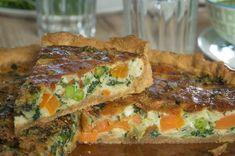 Quiche printanière aux carottes, petits pois, épinards {végétarien, sans lactose}