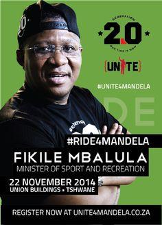 Minister of Sport and Recreation, Fikile Mbalula (@MbalulaFikile) shows his commitment to the #UNITE4MANDELA campaign.