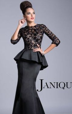 Peplum Evening Gown by Janique JQ3408