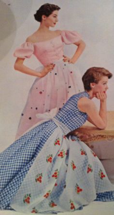 Fashion of the 1950's Mom made me a pink puffy sleeve shirt waste dress like this in the 6 th grade