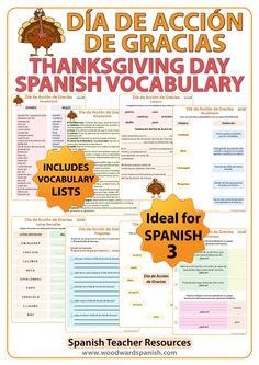 Thanksgiving Day Spanish Vocabulary with worksheets. Vocabulario del Día de Acción de Gracias con ejercicios