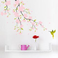 Pink Blossom Colour Wall Sticker - on trend: tropical