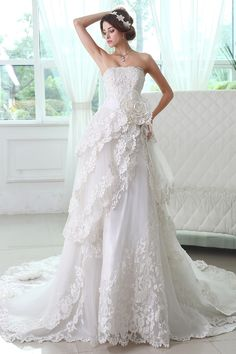 Romantic Lace Flower Accented Chapel Train Strapless Tiered Wedding Dress JSWD0224