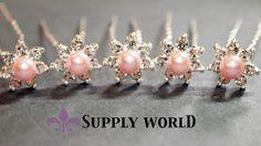 Rhinestone Hair Pins - Pearl Hair Pins - Rhinestone Pearl Hairpins - Hairpins - Pink Hairpins 5 pcs