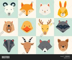 Set of cute animals icons vector illustrations
