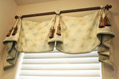 Celebrity Valance by Custom Drapery Designs, LLC. Bathroom Window Curtains, Swag Curtains, Home Curtains, Bathroom Windows, Burlap Curtains, Curtains 2018, Valance Window Treatments, Kitchen Window Treatments, Custom Window Treatments