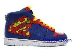 Shoe writing prompt: High Tops Nike SuperMan Dunk High Blue Shoes