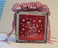 Lighted Glass Block, made by LindaF from the MTC Forum, using my Snowman Filigree file